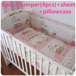 Ruffled linen bedding online shopping - Promotion Baby Crib Bedding piece Set Bed Linen Cotton crib set cot set bumpers sheet pillow cover
