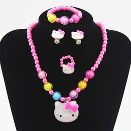 Barato Brincos Colar Crianças-12 conjuntos / lot Hot Kids Baby Girls Jóias Imitação Pearl Beads Hello Kitty Necklace / Bracelet / Ring / Earrings Lovely Children Set Gift TZ41