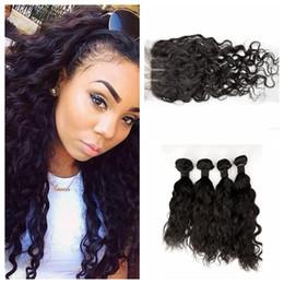 $enCountryForm.capitalKeyWord NZ - 4x4 Silk Base Closure With Bundles Virgin Water Wave Brazilian Human Hair Extensions 100% Human Hair DHL FREE LaurieJ Hair