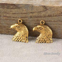 $enCountryForm.capitalKeyWord Australia - 24pcs Vintage Charms eagle Pendant Antique gold plated Fit Bracelets Necklace DIY Metal Jewelry Making R002