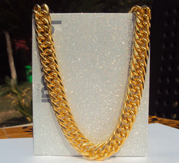 $enCountryForm.capitalKeyWord NZ - SOLID HEAVY 14K YELLOW GOLD FINISH 11mm 24 INCHES RAPPERS MIAMI CUBAN LINK CHAIN necklace 100% real gold, not solid not money.