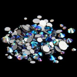 Barato Strass Diy Cola-Black Diamonds AB ss12-ss30 Non Hotfix Rhinestones de cristal Round Facets Flatback Glue On Strass Diamonds Glass Chatons DIY Jewelry Making