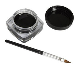 Wholesale no logo black eyeliner cream with brush Solid Eyeliner gel with free brush cheap price print you own logo