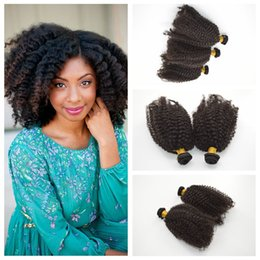 best afro weaves Canada - Best Quality Brazilian afro kinky curly Hair weaves Indian Human Hair bundle Double Weft G-EASY