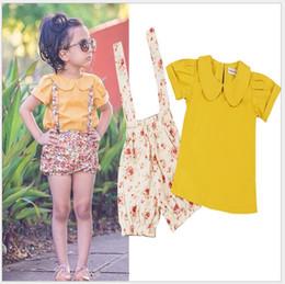 $enCountryForm.capitalKeyWord NZ - 2 pcs Set 2016 Summer Girls Clothing Sets Children Short Sleeve Turn-Down Collar T-shirt+Floral Printed Suspender Shorts Kids Suits Outfits