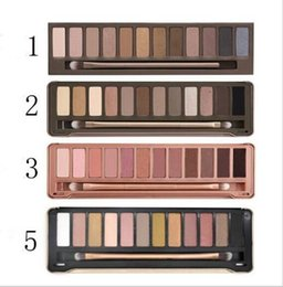high pigment palette Canada - 12 Color Eyeshadow Palette Nude Makeup Earth Color High Pigment Glitter Smoky Eye Shadow Set With Mirror+Brush