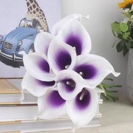Wholesale Bouquets Canada - Vintage Artificial Flowers 10 pieces lot Mini Purple in White Calla Lily Bouquets for Bridal Wedding Bouquet Decoration Fake Flower