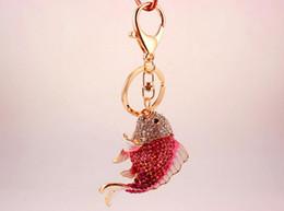 $enCountryForm.capitalKeyWord Canada - Exquisite Enamel Crystal Fish Key Chains Holder Goldfish Bag Buckle HandBag Pendant For Car Keyrings KeyChains