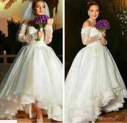 $enCountryForm.capitalKeyWord Canada - 2018 New Vintage Tea Length Arabic Short Wedding Dresses Off Shoulders Sheer Long Sleeves Appliqued Tiers Ruffles Wedding Bridal Gowns