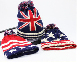 Wholesale Winter Wool Knitted Caps Men Beanie Snapback British Stars Stripe National Flag Thickening Warm Woolen Sports Hats Top Sale Hip Hop Beanies
