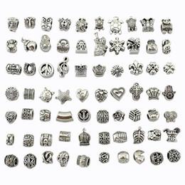 Großhandel Perle Mix Stil Antikes Silber Überzogene Legierung Großes Loch Charms Spacer Perlen fit pandora armband DIY Schmuck Halsketten Anhänger charme Perlen