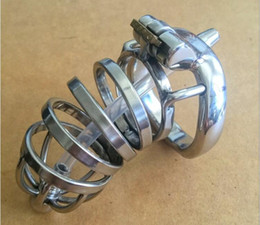 large cock rings NZ - 2017 Latest Dormant Lock Design Large Male Stainless Steel Cock Penis Cage W Silica Gel Catheter Chastity Belt Device Ring BDSM Sex Toy A276