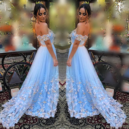 aa7d3a10193 Gorgeous Sky Blue Prom Dresses Sexy Off The Shoulder Butterfly Lace Appliques  Evening Gowns Tulle A Line Formal Party Dress Sweep Train
