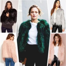 White Short Sleeve Faux Fur NZ - 6 Colors Faux Fur Jacket Fashion Women Runway Party Coat Long Sleeve O-Neck Short Jackets Winter Christmas Outwear Clubwear CJG0809