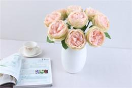 White Rose Arrangements Australia - New Spring Artificial Big Rose Silk Flowers Arrangement Wholesale For Home Party Decor Wedding Decoration Flores Artificiales