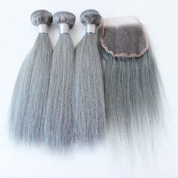 3Pcs Hair with Closure Human Hair Grey Brazilian Straight Silver Grey Hair Extensions Grey Weave Bundles With Closure In Stock on Sale