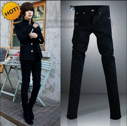 ac0d77eb57ebf handsome jeans 2019 - Black Micro Elastic SKinny Jeans Men Teenagers Casual  Pencil Pants Cotton Thin