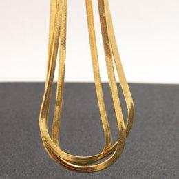 Toptan satış Fashoin 24 k gerçek sarı altın dolgulu yılan kemik zinciri erkekler kadınlar ince zincir kolye 60 * 0.3 cm
