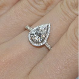 Size5 6 7 8 9 10Jewelry 925 Silver Filled White Sapphire Pear Shaped Wedding Ring Gift
