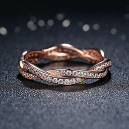 Rose Gold Cluster Engagement Rings Australia - Authentic 925 Sterling Silver Rings Rose Gold Plated Twist of Fate Clear CZ Finger Rings for Women Wedding Jewelry R086
