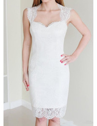 petite sweetheart wedding dresses Canada - 2019 Hot Sale Cheap Simple Short Lace Wedding Dress Cap Sleeve Backless Sheath Knee Length Bridal Gowns Custom Size