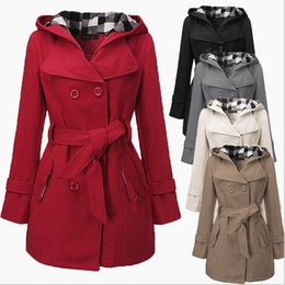 twill patches UK - New Winter Women Warm Double-breasted Hooded Belt Long Slim Jacket Coat Outwear Womens Warm Fleece Hooded Jacket with Belt Coat 7 Colors