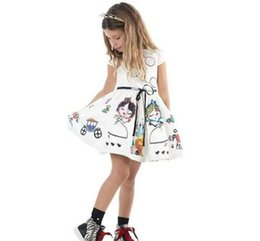 New 2016 Baby Girls print cartoon party Dresses Toddler Baby sleeveless  cotton white painting Princess Party summer dress children clothing b74b2d806e94
