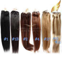 "Discount loop hair extensions blonde - Brazilian Hair 22"" Loop Micro Ring Hair Extensions #1b,#1,#2,#4,#27,#27 #22 Silky Straight 1g strand, 100g set Bell"