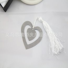 Pack Supplies Australia - Metal Bookmark Hollow Double Heart White Tassels Book Mark Table Decor Delicate Box Packing Wedding Gifts Party Giveaway 1 25ab F R