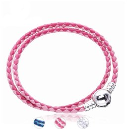 Silver Clasped Leather Bracelets NZ - Authentic 925 Sterling Silver Mixed Woven Double-Leather Clasp Charms Bracelet For Women Silver Rope Female Bracelets