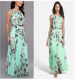 d530963cd0aff 2016 Hot New Summer Style Green Women Long Dress O Neck Floral Print  Chiffon Maxi Dress Elegant Casual Boho Party Dresses With Belt  2567