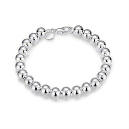 $enCountryForm.capitalKeyWord UK - Hot 925 Sterling Silver plated bracelets fashion jewelry charm 8mm bead bracelet with Lobster clasp Christmas gift mother giftFree Shipping