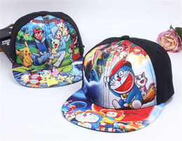 Chapeaux Snapback Pour Les Filles Pas Cher-Poke Cap pour les enfants Cartoon Anime Baseball Snapbacks Chapeau Pocket Monsters Cosplay Doraemon Casquettes Boy Girl Snapback Chapeaux Enfants Cadeau de Noël