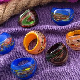 Net Ring Women Canada - Free Shipping Wholesale Hot 24Pcs 17-19mm Net Silver Foil Lampwork Glass Murano Rings,New Fashion Women Murano Finger Rings