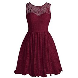 Barato Vestido Curto De Baile De Borgonha-De alta qualidade barato Burgundy Vestidos Homecoming Lace Curto Prom Dress Illusion Jewel Neck mangas Backless Mini Festa Vestido com Bow
