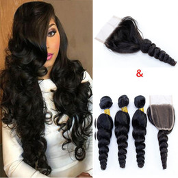 $enCountryForm.capitalKeyWord NZ - Brazilain Virgin Hair Loose Wave Human Bundles With Closure Cheap Human Hair Wefts Weave Extensions With Closure Natural Color Hair Vendors