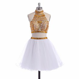 custom short gown UK - Real Pictures Crystal white gold short homecoming dresses Ball Gowns Two Pieces Prom Party Dresses vestidos curtos