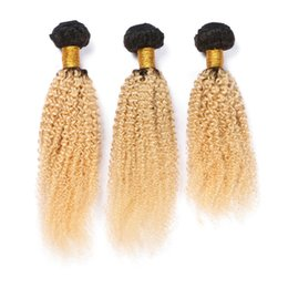 Hair Color 24 613 Australia - Blonde Ombre Color T1B 613 Brazilian Kinky Curly 3 Bundles Remy Human Hair Afro Kinky Hair Bundles For Black Women