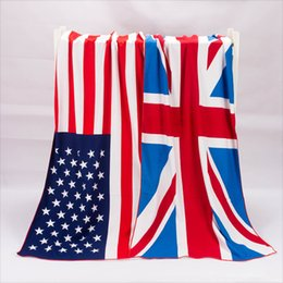 Coton Enfants Usa Pas Cher-Serviettes de plage USA Flag Serviette de bain Royaume-Uni Canada Flag Serviettes Children Gift For Kids serviette de bain en coton 70x140cm