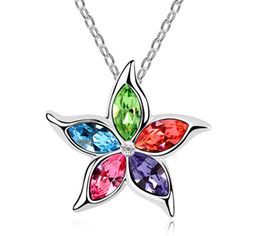 Flower pentagram online shopping - Beautiful Blossom Crystal Necklace Five Pointed Star Necklace Austrian Crystal Pentagram Alloy Silver Plated Pendant Necklace