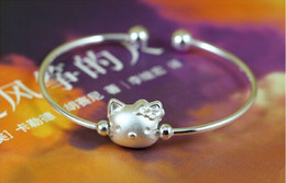 925 thick silver bracelet online shopping - 925 silver plated thick silver Hello Kitty bracelet Bracelet Silver Rose Gold K Real Gold Plated Women Jewelry Cuff Bangle