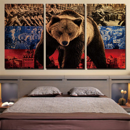Russian Paintings NZ - Russian Bear Soldiers ,3 Pieces Home Decor HD Printed Modern Art Painting on Canvas  Unframed Framed