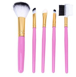 Discount lips packaging - Makeup brush 5 pcs=1 set Portable pink sets of brush Lip brush eye shadow brush etc Independent simple PVC bag packaging