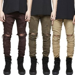 Pantalon Décontracté Vert Pas Cher-Ripped Jeans Slim-Fit Skinny Bootcut Jeans Hip-Hop New Men Destroyed Biker Jeans Pantalons Khaki Army Green Pant Casual