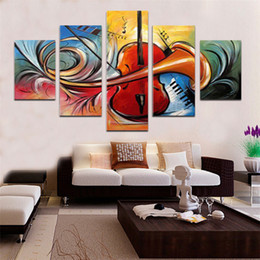 modern musical instruments UK - High-quality oil painting Modern Art wall Musical Instruments guitar art decoration Modern Abstract oil painting 5 pcs set
