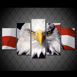 decor eagles Canada - 5 Pcs Set HD Printed eagle flag usa Painting Canvas Print room decor print poster picture canvas Free shipping NY-5890