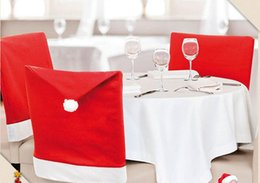 Decoration For Party Tables NZ - Christmas Chair Covers Santa Clause Red Hat for Dinner Decor Home Decorations Ornaments Supplies Dinner Table Party Decor