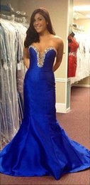 Barato Vestido De Baile De Formatura Taffeta Mermaid Barato-Gorgeous Royal Blue Mermaid tafetá Prom Dresses Long elegante vestido de noite formal Sweetheart Beaded Vestidos Festa Cheap Formal Dresses