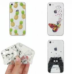 iphone pineapple case Australia - Ultrathin Soft TPU Case For Iphone 7 Plus 7G I7 6 6S SE 5 5S Cartoon Cool Butterfly Love Lip Cat Feather Unicorn Donuts Pineapple Skin Cover