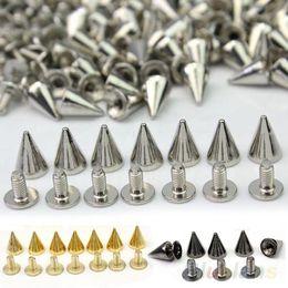 $enCountryForm.capitalKeyWord Canada - 100 PCS 10mm fashion Silver Jewelry pots Cone Screw Metal Studs Leathercraft Rivet Bullet Spikes 097D